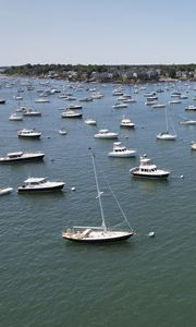 Preview wallpaper boats, water, sea, aerial view