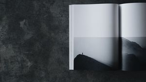 Preview wallpaper book, bw, silhouette, minimalism