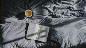 Preview wallpaper book, coffee, bed, shadow