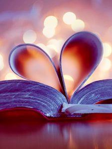 Preview wallpaper book, heart, page, glare, bookmark