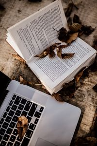 Preview wallpaper book, laptop, leaves, dry, autumn, aesthetics