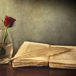 Preview wallpaper book, old, pen, table, vase, rose, red