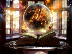 Preview wallpaper book, sphere, magic, sorcery