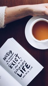 Preview wallpaper book, text, motivation, coffee, hand