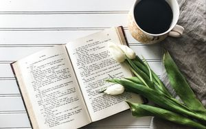 Preview wallpaper book, tulips, coffee