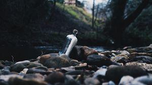 Preview wallpaper bottle, message, shore, stones, river