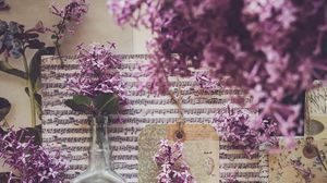 Preview wallpaper bottle, notes, lilac, flowers, aesthetics