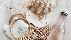 Preview wallpaper bottle, shell, basket, wicker, aesthetics