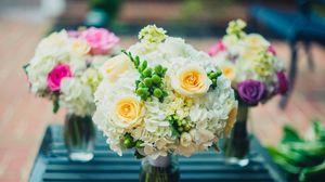 Preview wallpaper bouquet, flowers, vase, composition, design