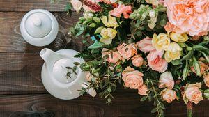 Preview wallpaper bouquet, tea, tea party