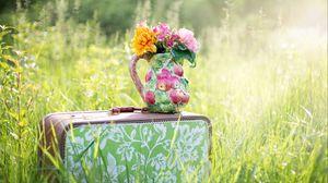 Preview wallpaper bouquet, vase, flowers, suitcase