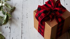 Preview wallpaper box, bow, branch, gift, christmas, new year