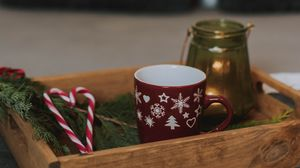 Preview wallpaper box, cup, candy canes, branch, new year, christmas