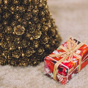 Preview wallpaper box, gift, ornaments, christmas, new year