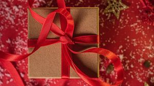 Preview wallpaper box, ribbon, gift, new year, christmas, red