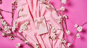 Preview wallpaper box, ribbon, gift, fabric, flowers, branches, pink