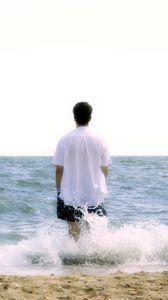 Preview wallpaper boy, beach, sea, foam, harmony, meditation