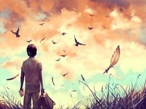 Preview wallpaper boy, birds, art, book, backpack, feathers, freedom