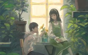 Preview wallpaper boy, girl, art, greenhouse, flowers, window
