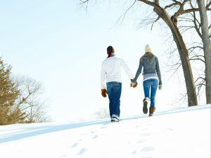 Preview wallpaper boy, girl, attitude, warmth, love, winter, snow, mittens