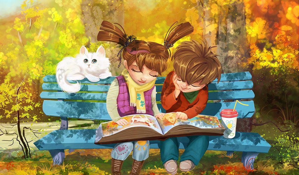 1024x600 Wallpaper boy, girl, cat, bench, park, cute