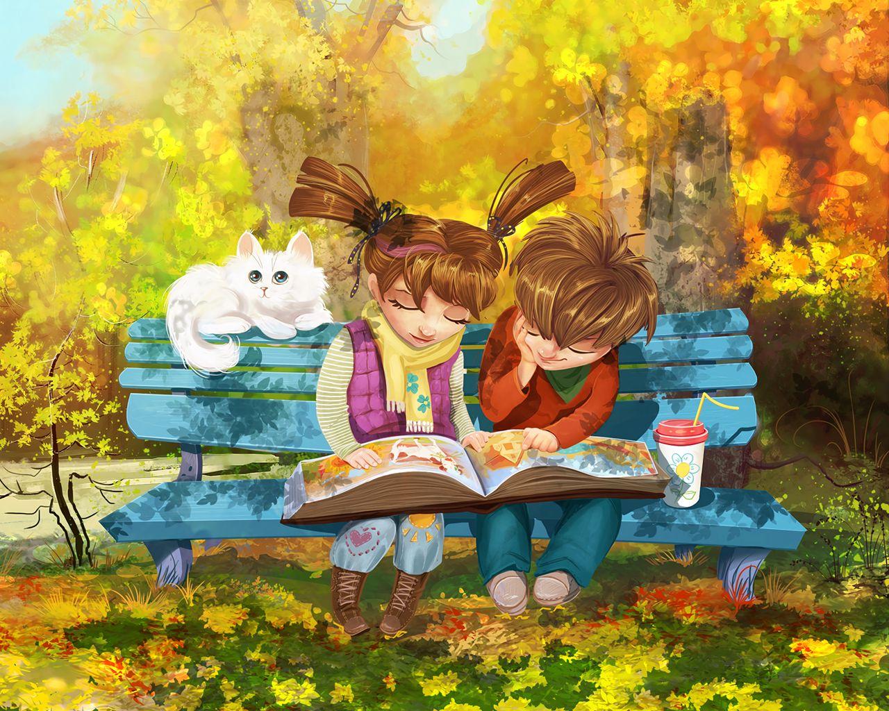 1280x1024 Wallpaper boy, girl, cat, bench, park, cute
