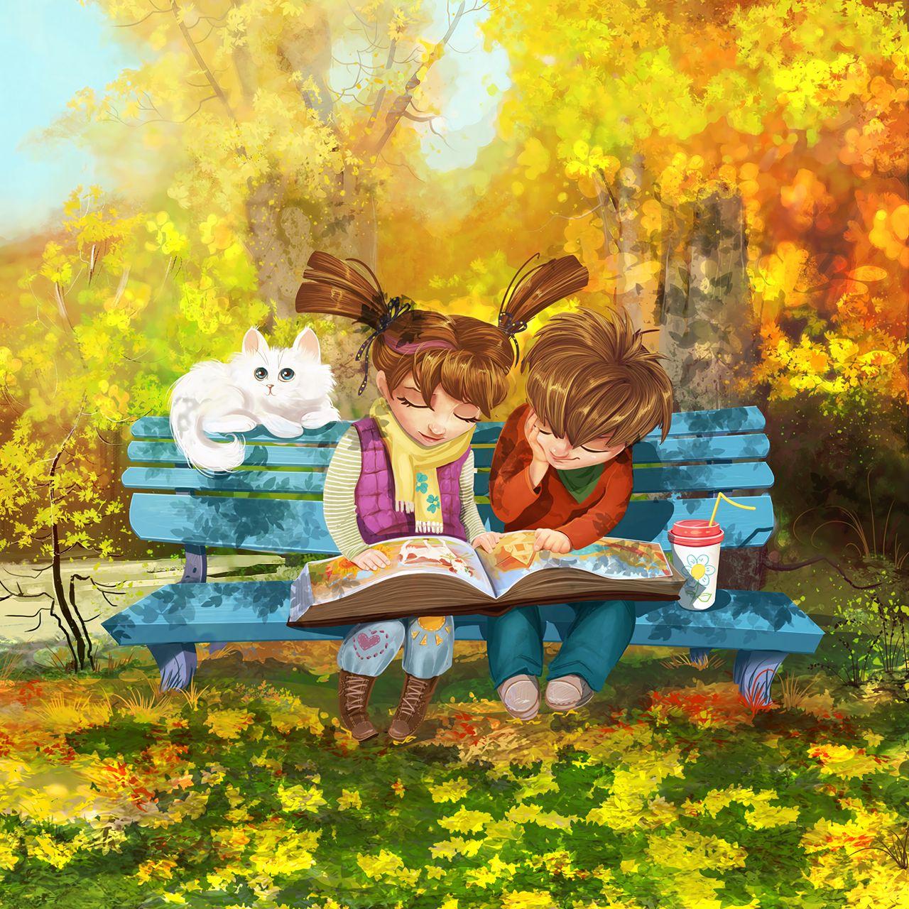 1280x1280 Wallpaper boy, girl, cat, bench, park, cute