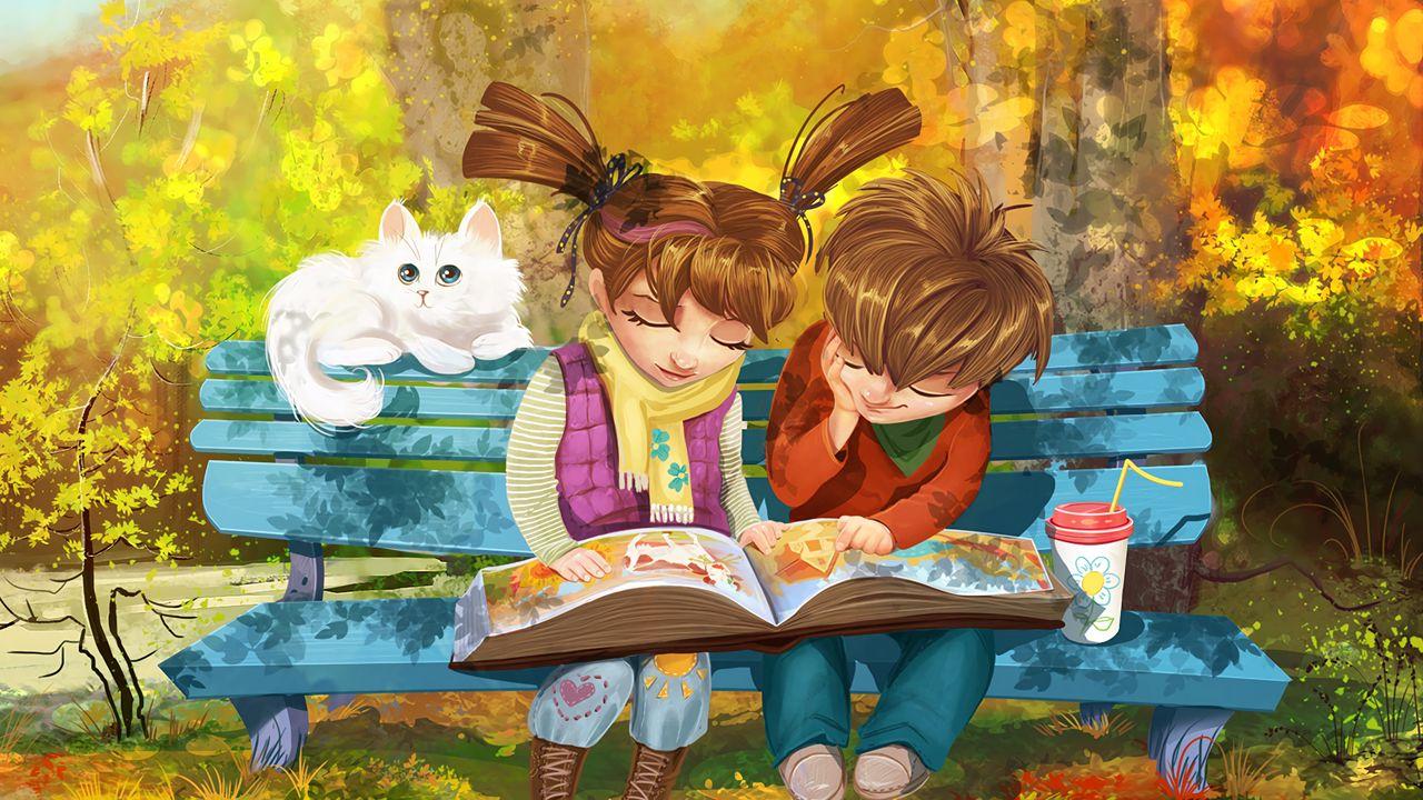 1280x720 Wallpaper boy, girl, cat, bench, park, cute