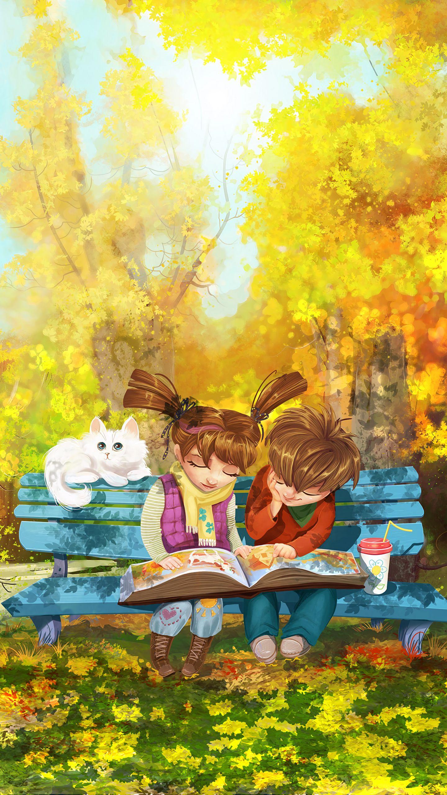 1440x2560 Wallpaper boy, girl, cat, bench, park, cute