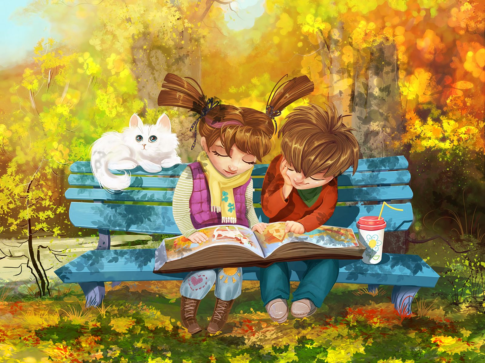 1600x1200 Wallpaper boy, girl, cat, bench, park, cute