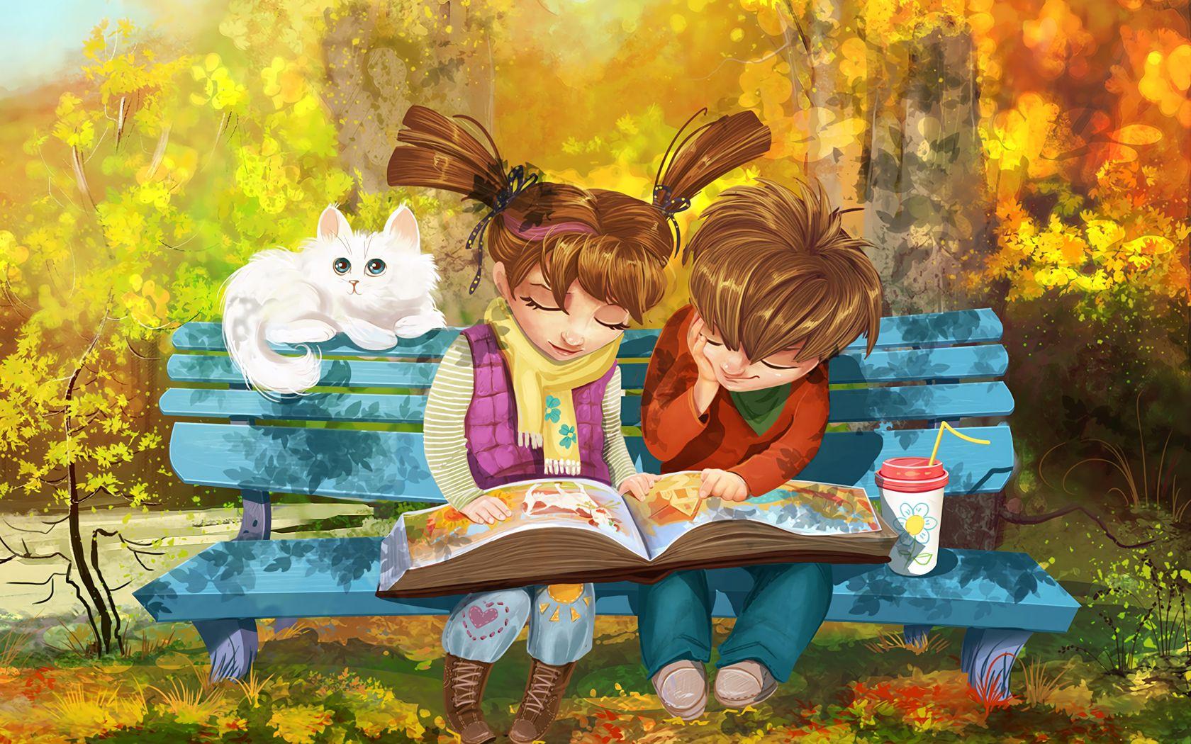 1680x1050 Wallpaper boy, girl, cat, bench, park, cute