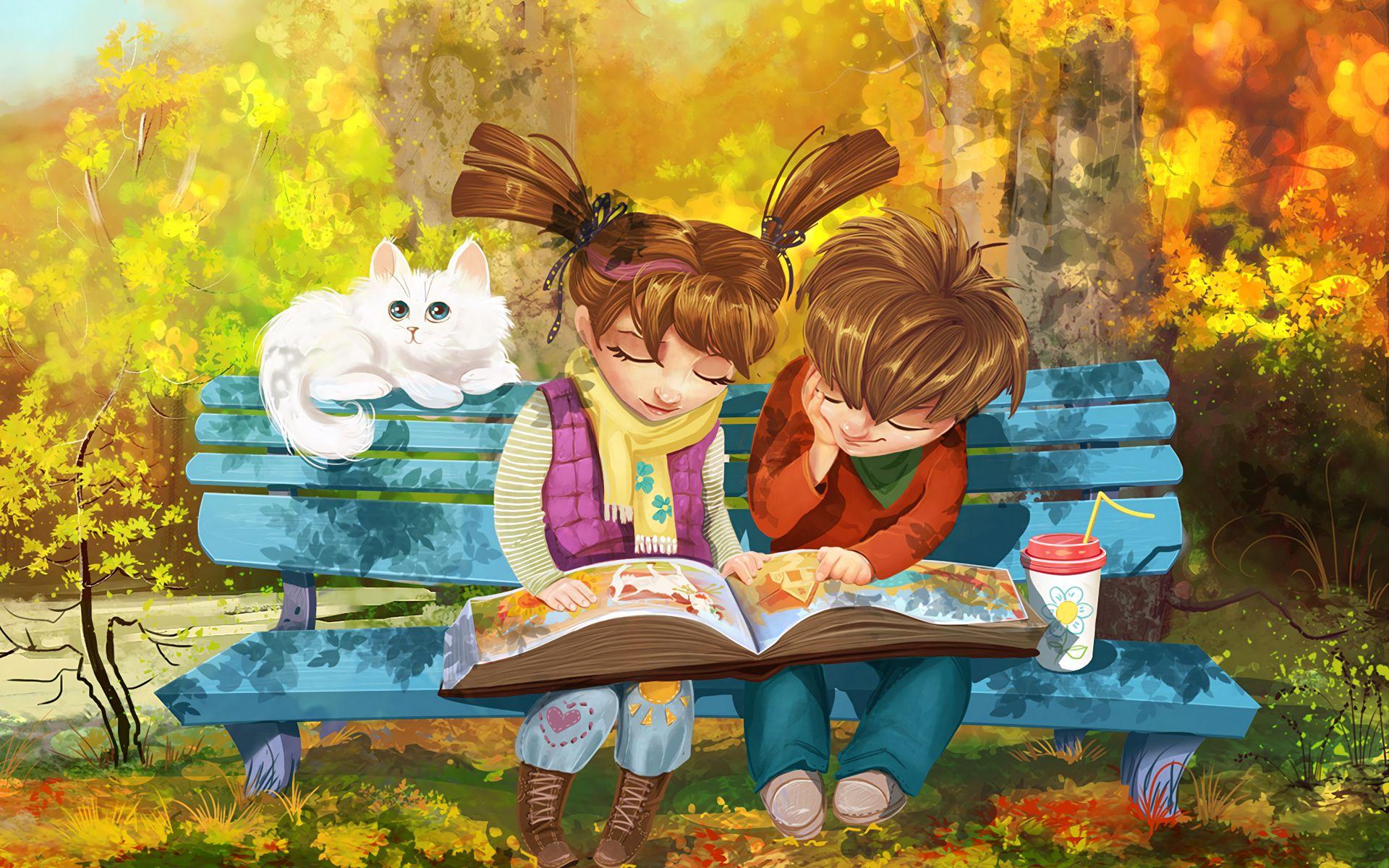 1920x1200 Wallpaper boy, girl, cat, bench, park, cute