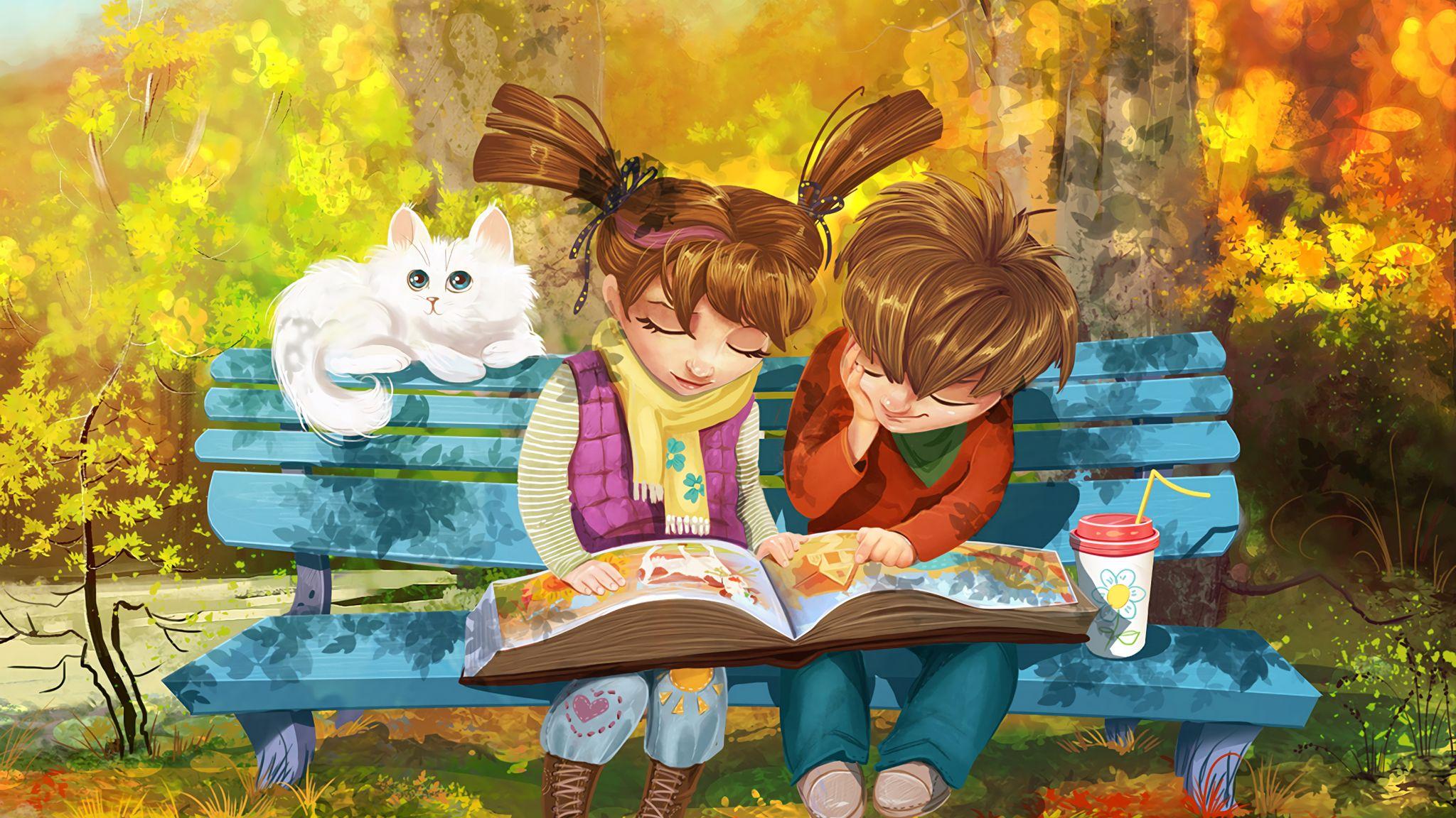 2048x1152 Wallpaper boy, girl, cat, bench, park, cute