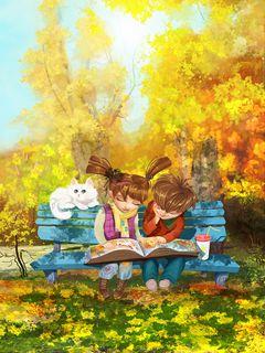 240x320 Wallpaper boy, girl, cat, bench, park, cute