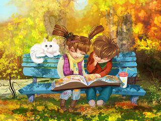 320x240 Wallpaper boy, girl, cat, bench, park, cute