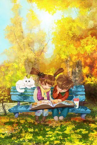 320x480 Wallpaper boy, girl, cat, bench, park, cute