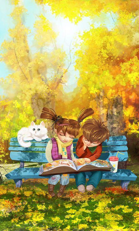480x800 Wallpaper boy, girl, cat, bench, park, cute