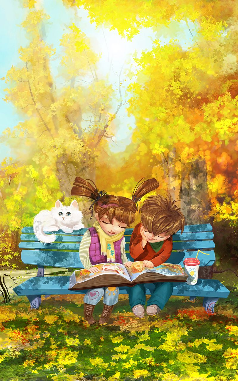800x1280 Wallpaper boy, girl, cat, bench, park, cute
