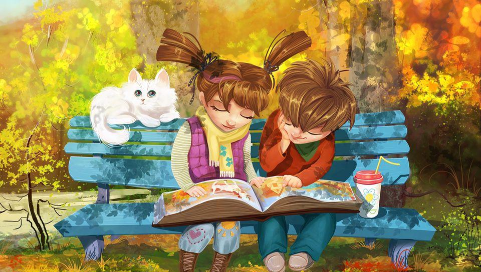960x544 Wallpaper boy, girl, cat, bench, park, cute