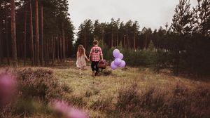 Preview wallpaper children, walk, couple, childhood, mood, balloons, basket