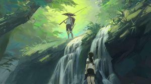 Preview wallpaper boy, girl, waterfall, art, forest, jungle