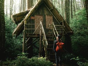Preview wallpaper boy, house, forest, solitude, harmony, nature