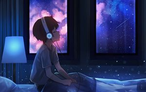 Preview wallpaper boy, night, headphones, starry sky, art