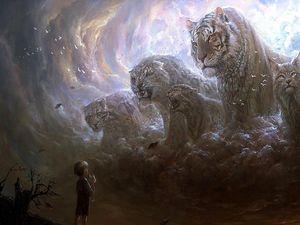 Preview wallpaper boy, predators, cats, grin, fog