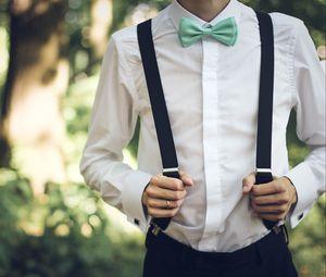 Preview wallpaper boyfriend, bridegroom, attire, suspenders, shirt, bow tie
