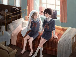 Preview wallpaper boys, friends, bed, anime, art