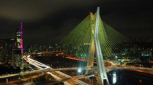 Preview wallpaper brazil, bridge, building, night