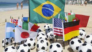 Preview wallpaper brazil, fifa, world cup, 2014, beach, balls, football, fans