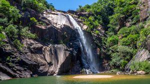 Preview wallpaper brazil, sao paulo, waterfall, cliff