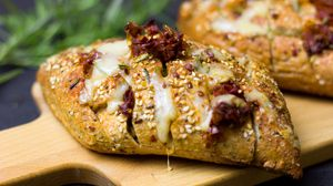 Preview wallpaper bread, cheese, sesame, bun, baked